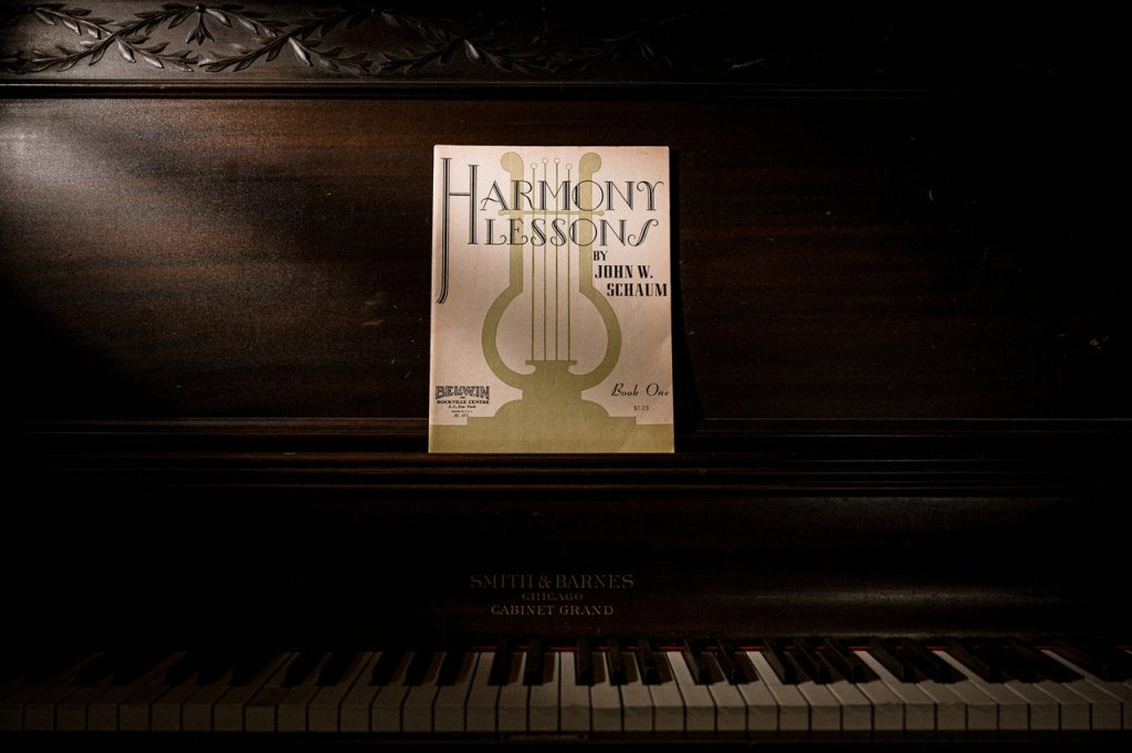 piano with a music book